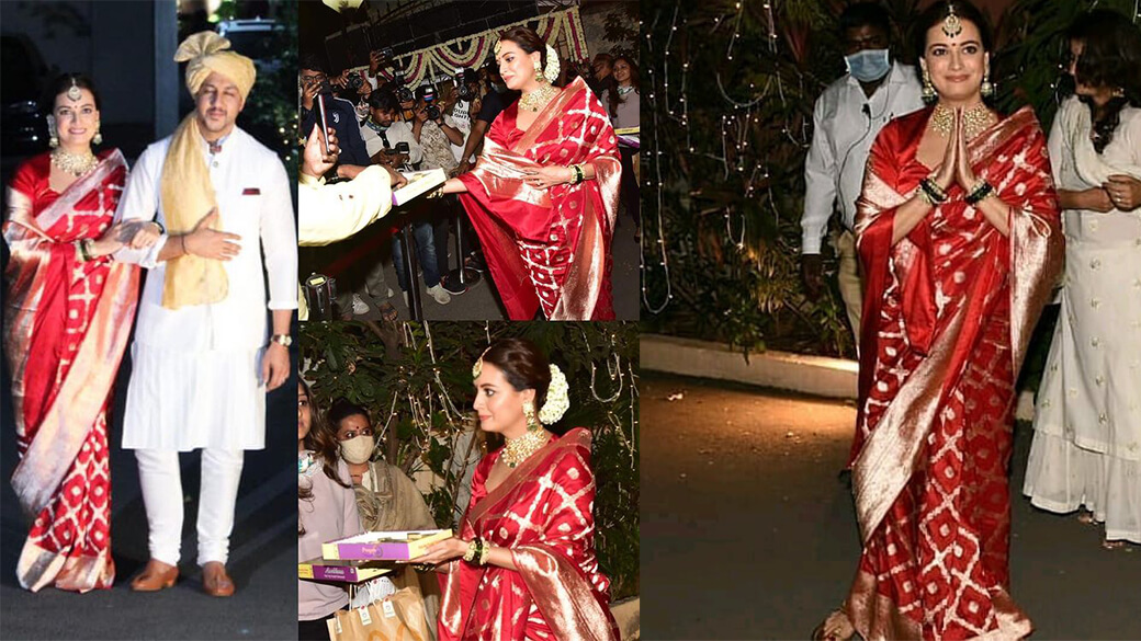 Dia Mirza Walking Down The Down The Stairs With Hubby Vaibhav Rekhi's