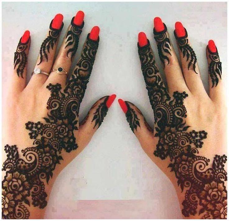 Black Fingertips Mehandi Designs