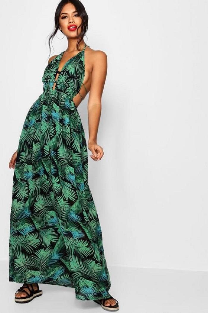 palm print attire for beach wedding