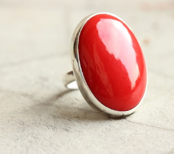 coral gemstone engagement ring