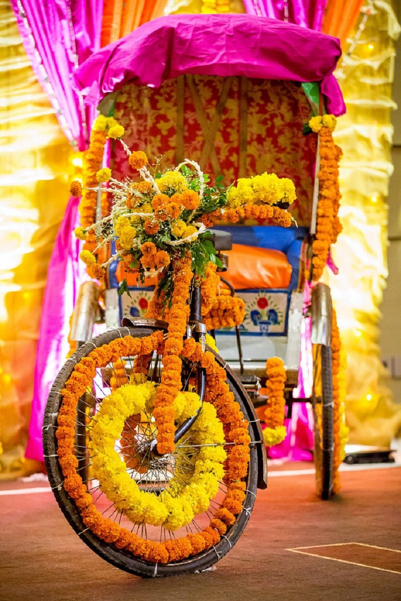 Florally Decorated Rickshaw wedding decor ideas