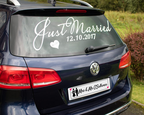 wedding car decoration with Personalised License Plate