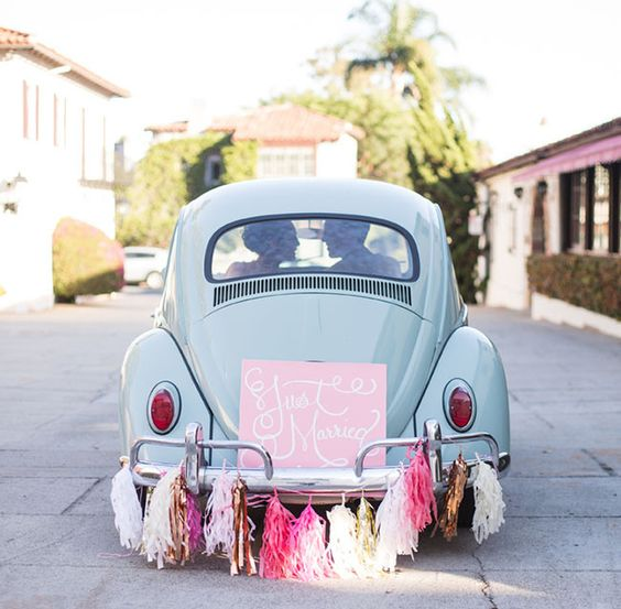 wedding car decoration with tassles