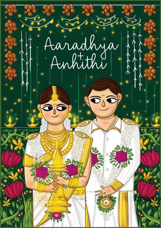 caricature wedding invitation card