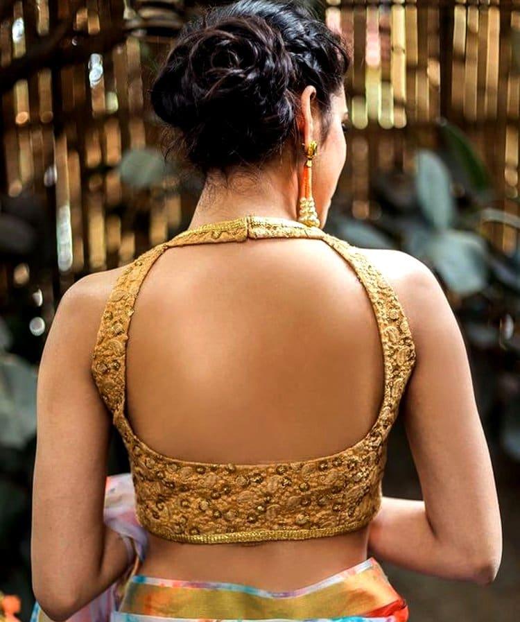 beige backless blouse design