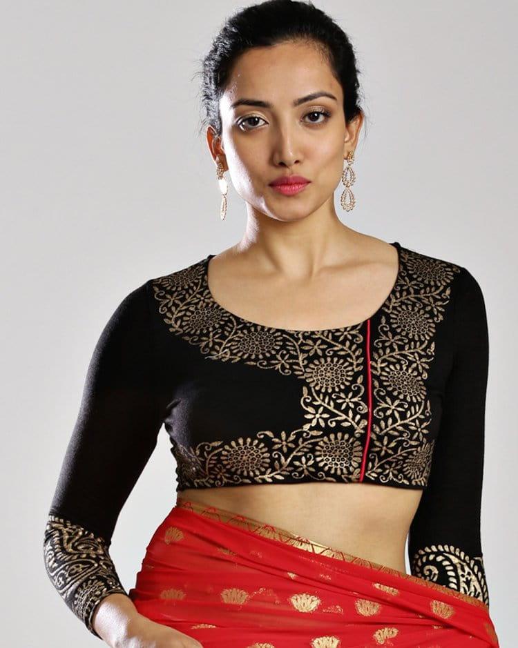 quarter sleeves blouse design