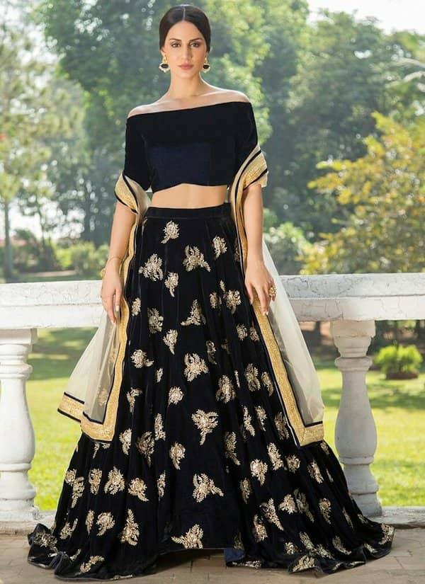Navy Blue and Gold Off Shoulder Velvet  blouse design image