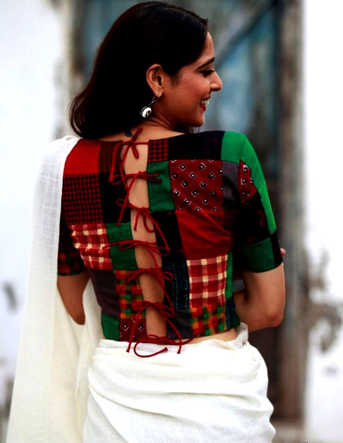 Boat Neck Patchwork Blouse Design