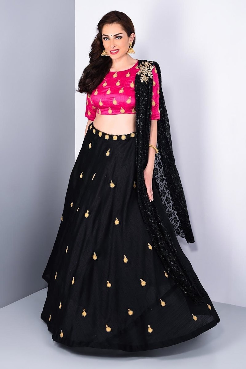 Classic silky black lehenga with pink blouse