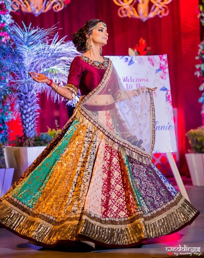 Beautiful colorful lehenga with sheer chunni