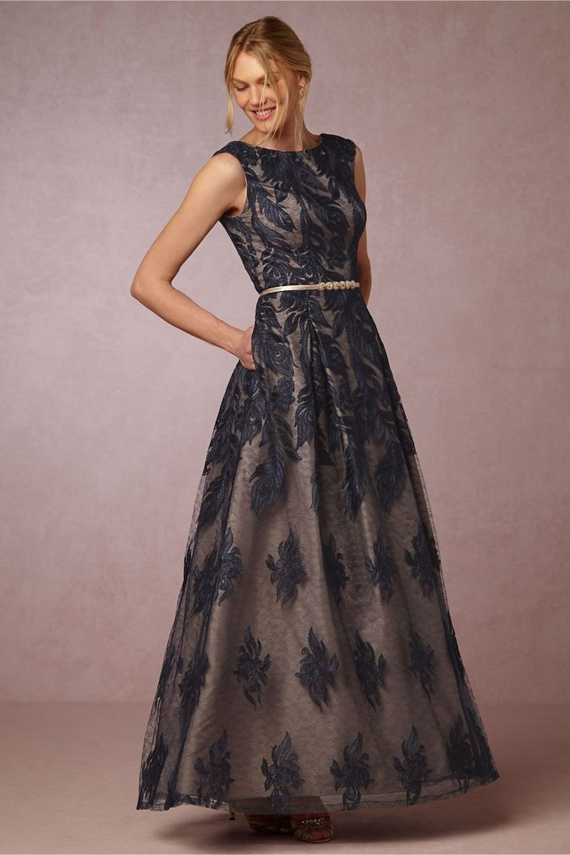 Midnight blue vogueus sheer gown