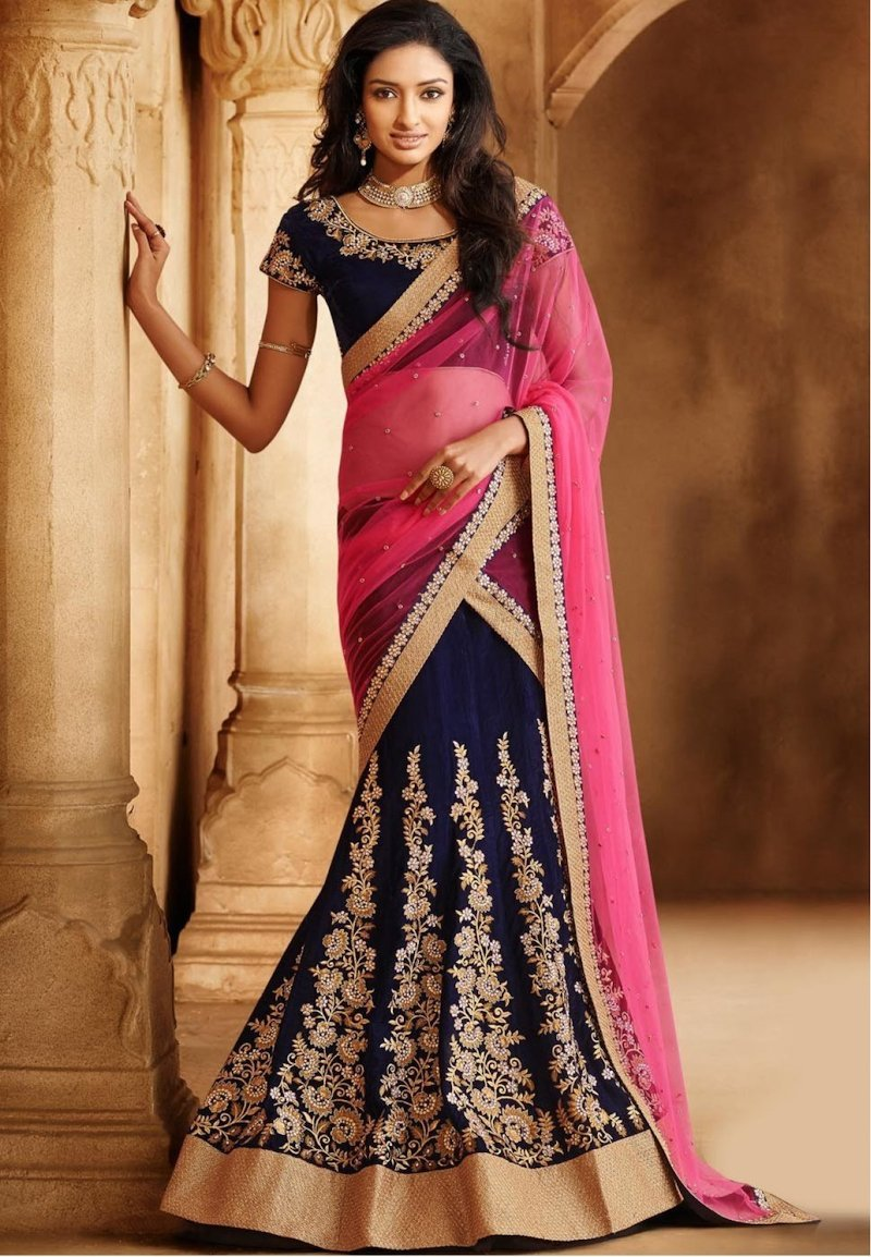 Flowery mermaid blue designer lehenga