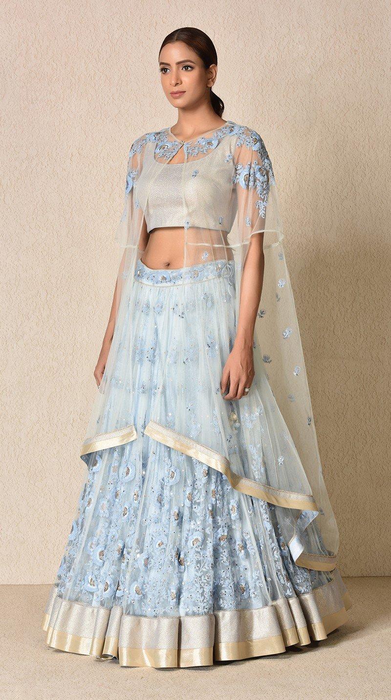 Sheer designer cape with sleeveless blouse and Anarkali outer sheer lehenga
