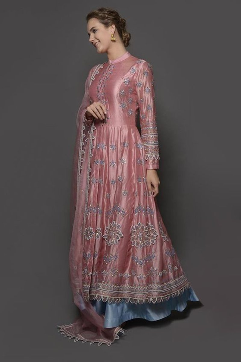 Chic long asymmetrical kurta with double layers bottom side