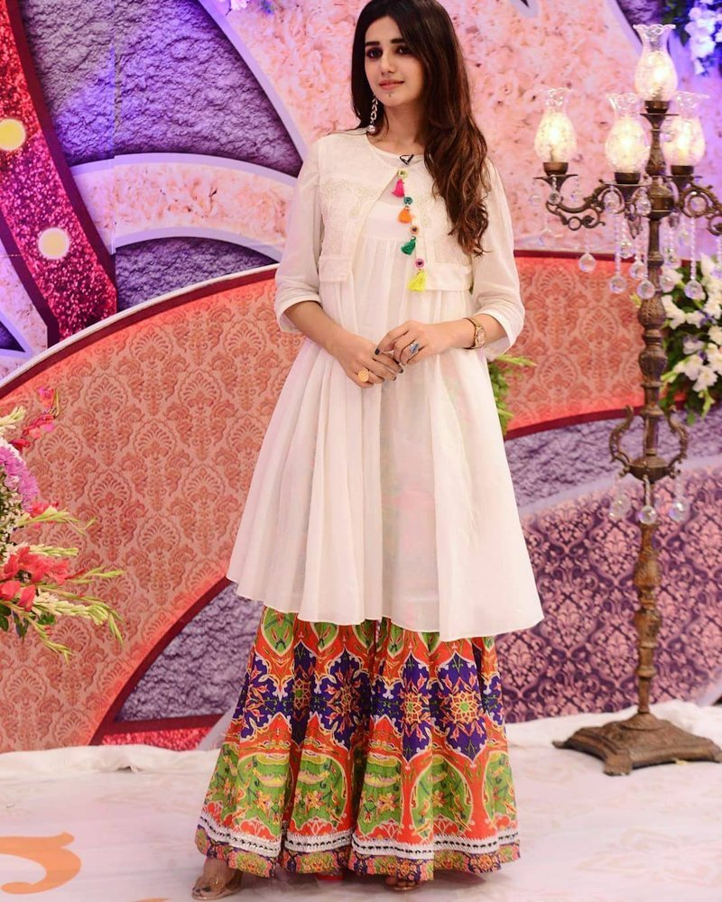 Gorgeous colorful sharara suit with white long top
