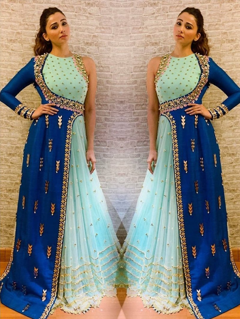 Starry one-sided sleeveless Anarkali with blue side crop jacket