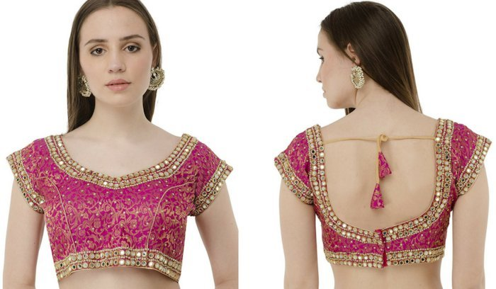 Backless Mirror Work Blouse Design