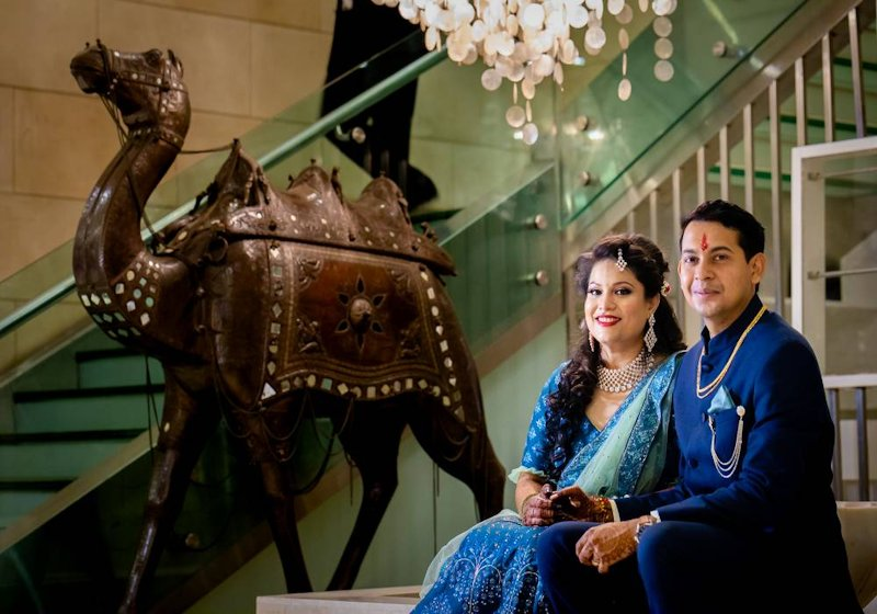 Mayank In His Luxurious Blue Jodhpuri Suit