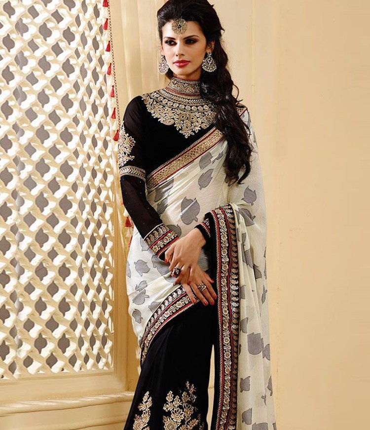 Black Velvet Blouse Design With Golden Embroidery And Jewellery