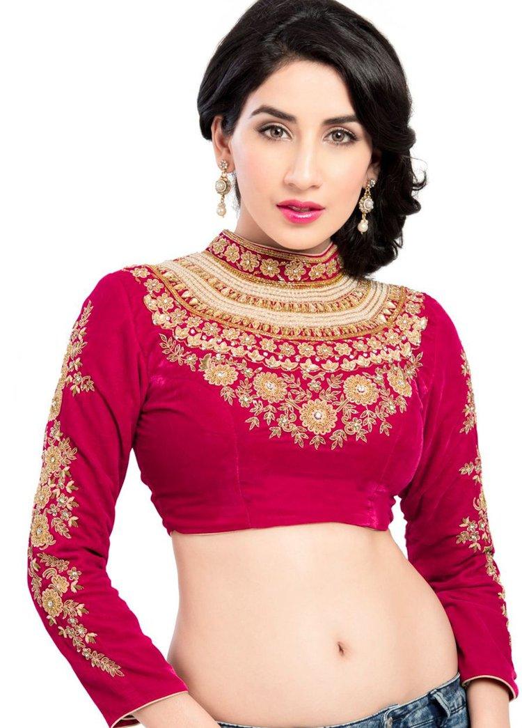 Designer Velvet Pink Blouse Design