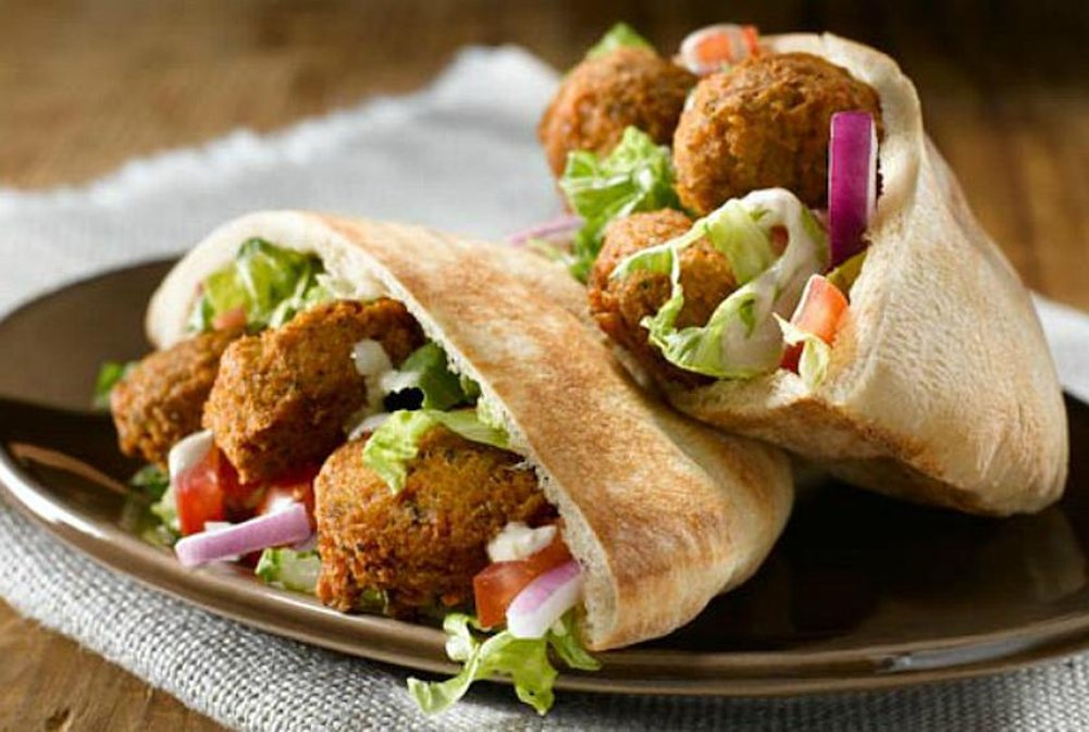Pita Bread, Falafel And Hummus