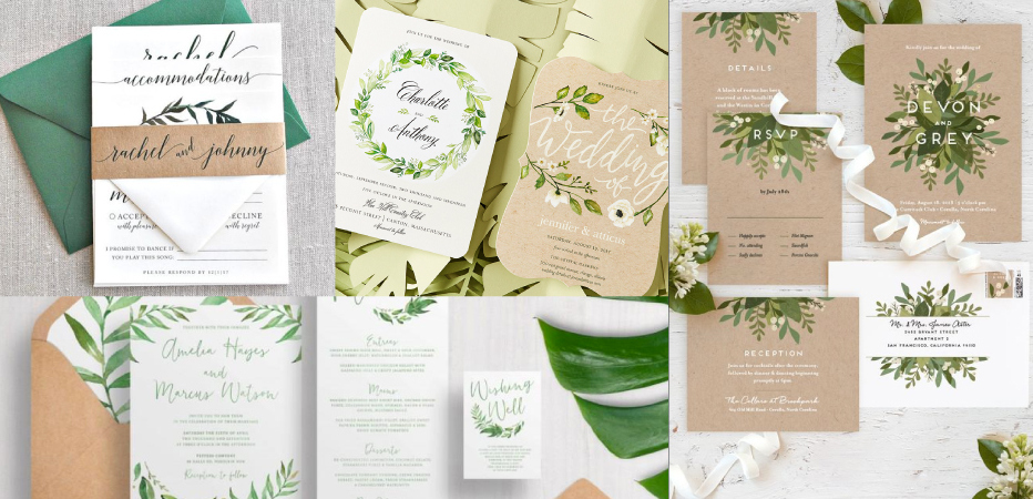 Greenery Wedding Card Styles