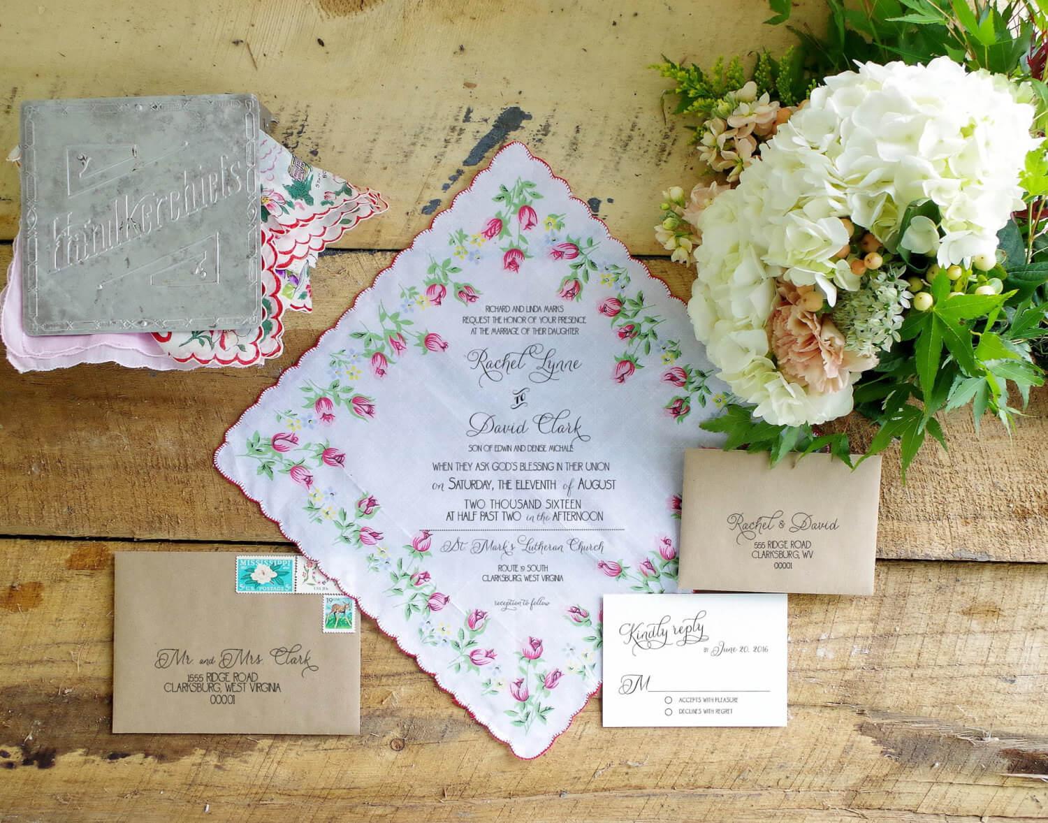 Handkerchief Wedding Card