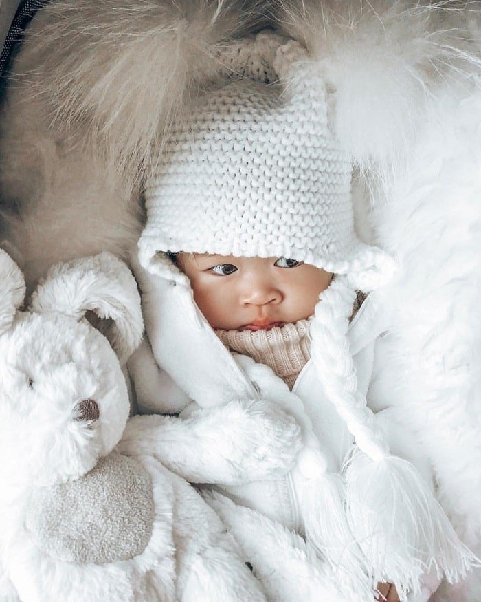 cute baby in winters