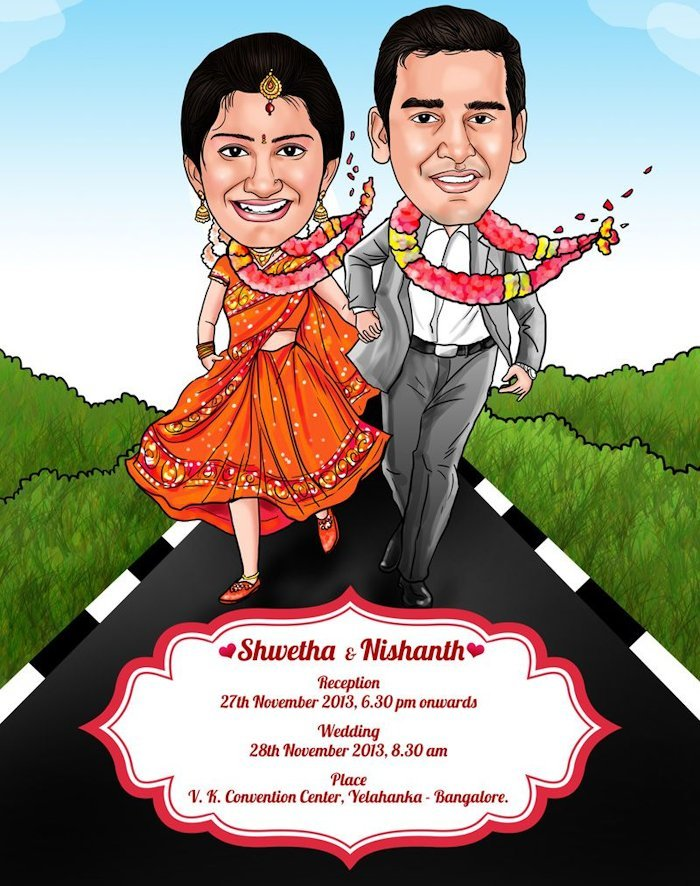 caricature wedding invitation card