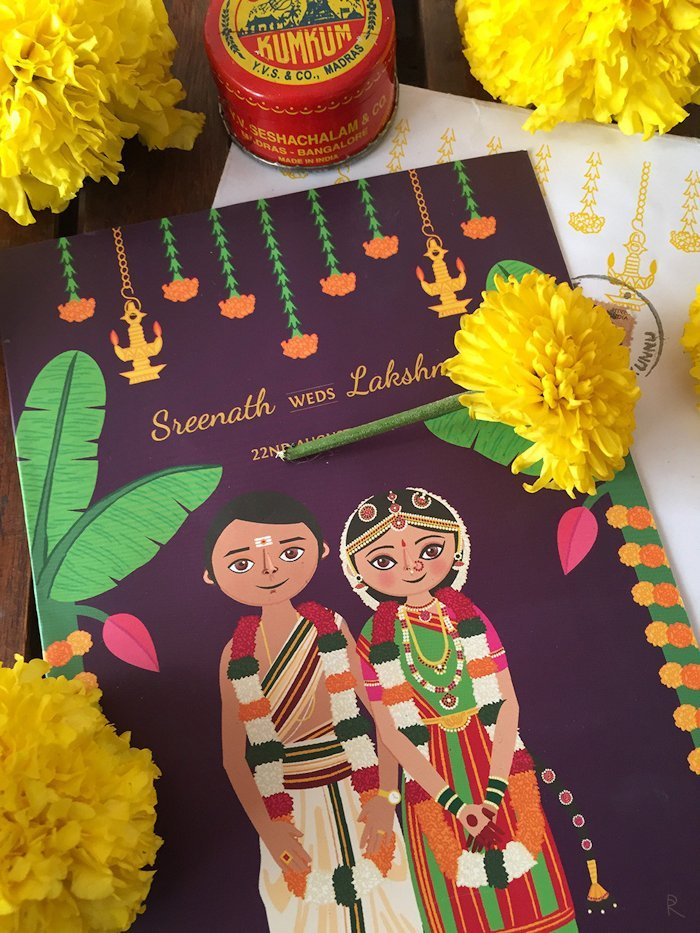 south indian wedding invitation card