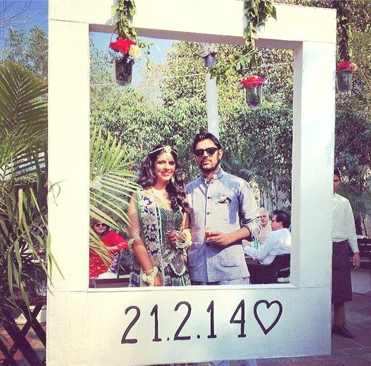 Wedding date cut-out installation photobooth idea