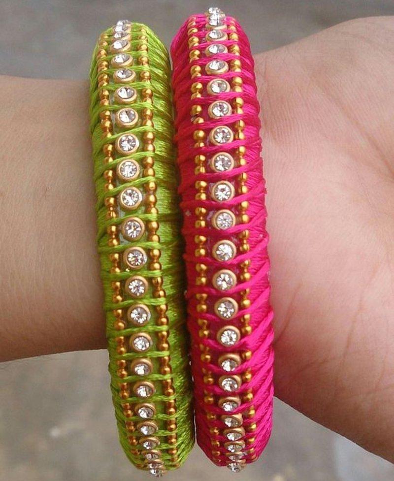beaded thread bangles
