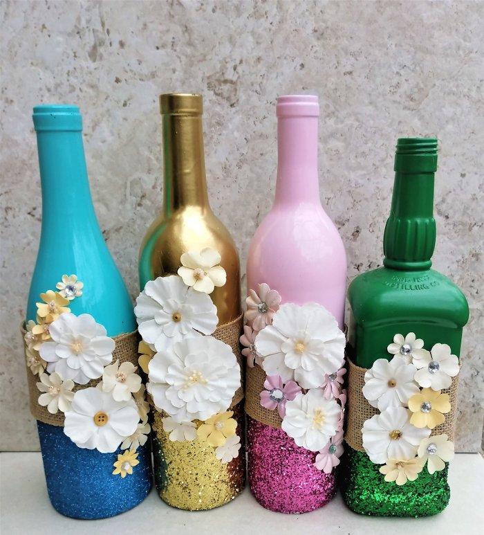 Temporary glitter bottle vase