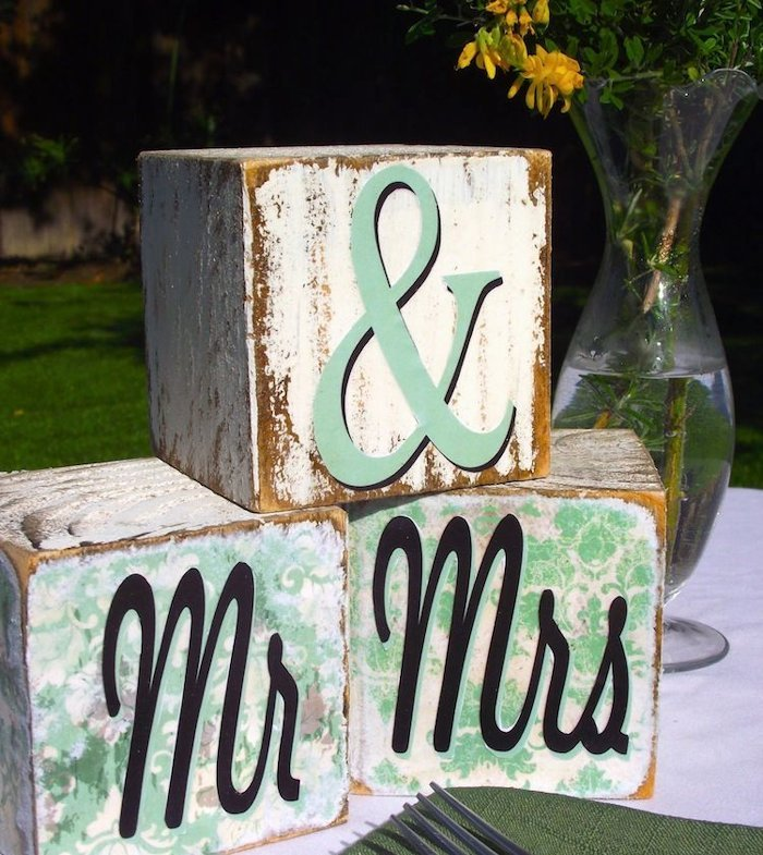 Decorated wedding blocks