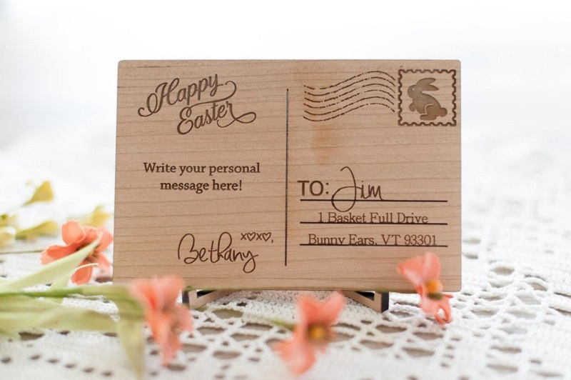 Love Wood Postcard With Written Messages