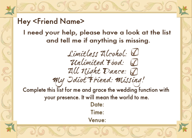 Wedding Invitation Sms Sample: Wedding Invitation Wordings For Friends, Invite Quotes