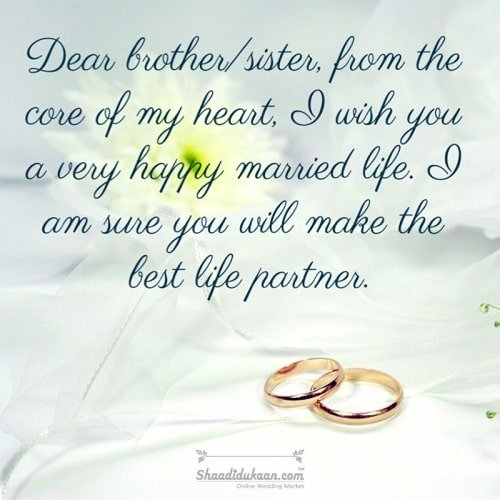 Wedding Wishes for Sister in law