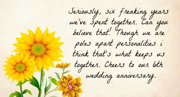6th wedding anniversary quotes for hubby