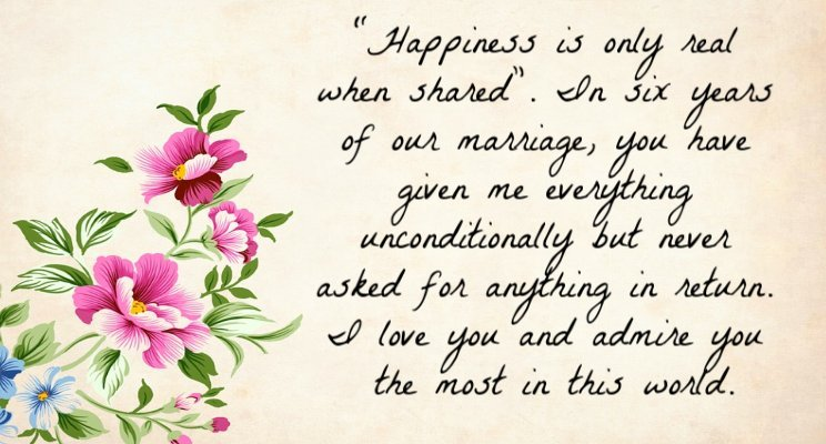 6th anniversary wishes for husband