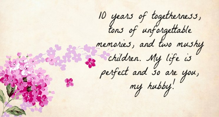 10th Wedding Anniversary Wishes For Husband
