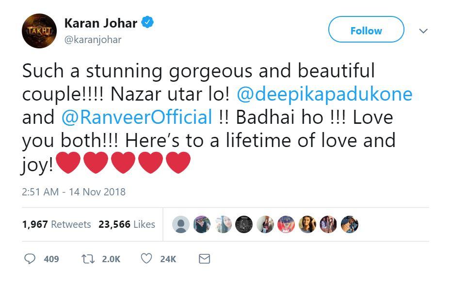 Karan Johar Tweet For Deep Veer Wedding