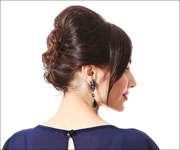 Side Swept Formal Updo Wedding Hairstyle For Short Hair