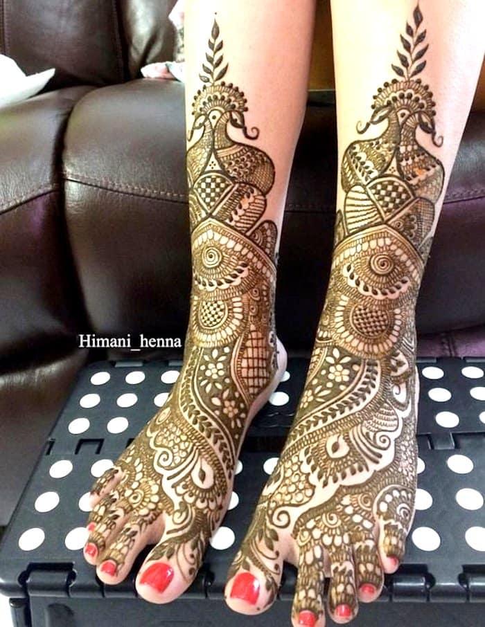 Indo-arabic legs mehndi designs