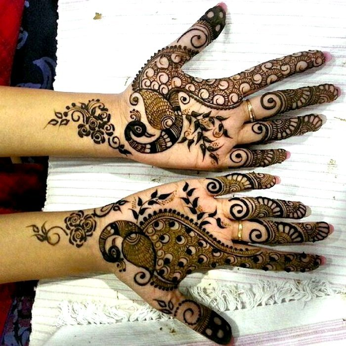 Henna design with peacock
