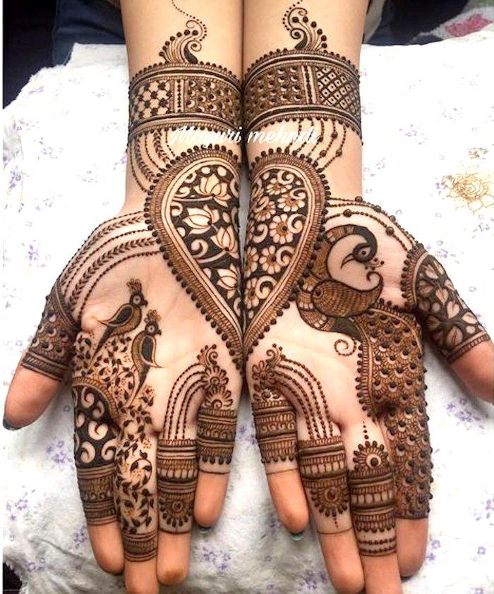 Peacock design in mehndi for hands