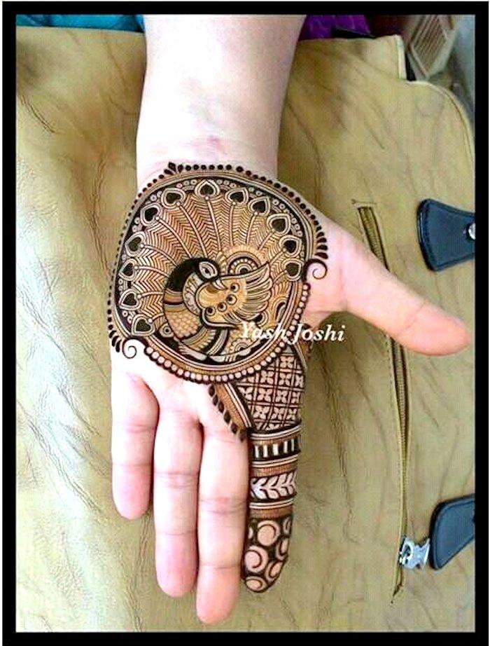 Mehndi designs front hand - peacock
