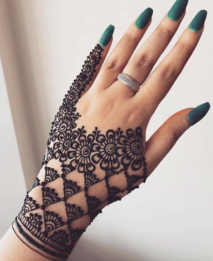Mehndi design with circles and checks