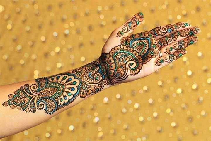 glitter mehandi designs for wedding