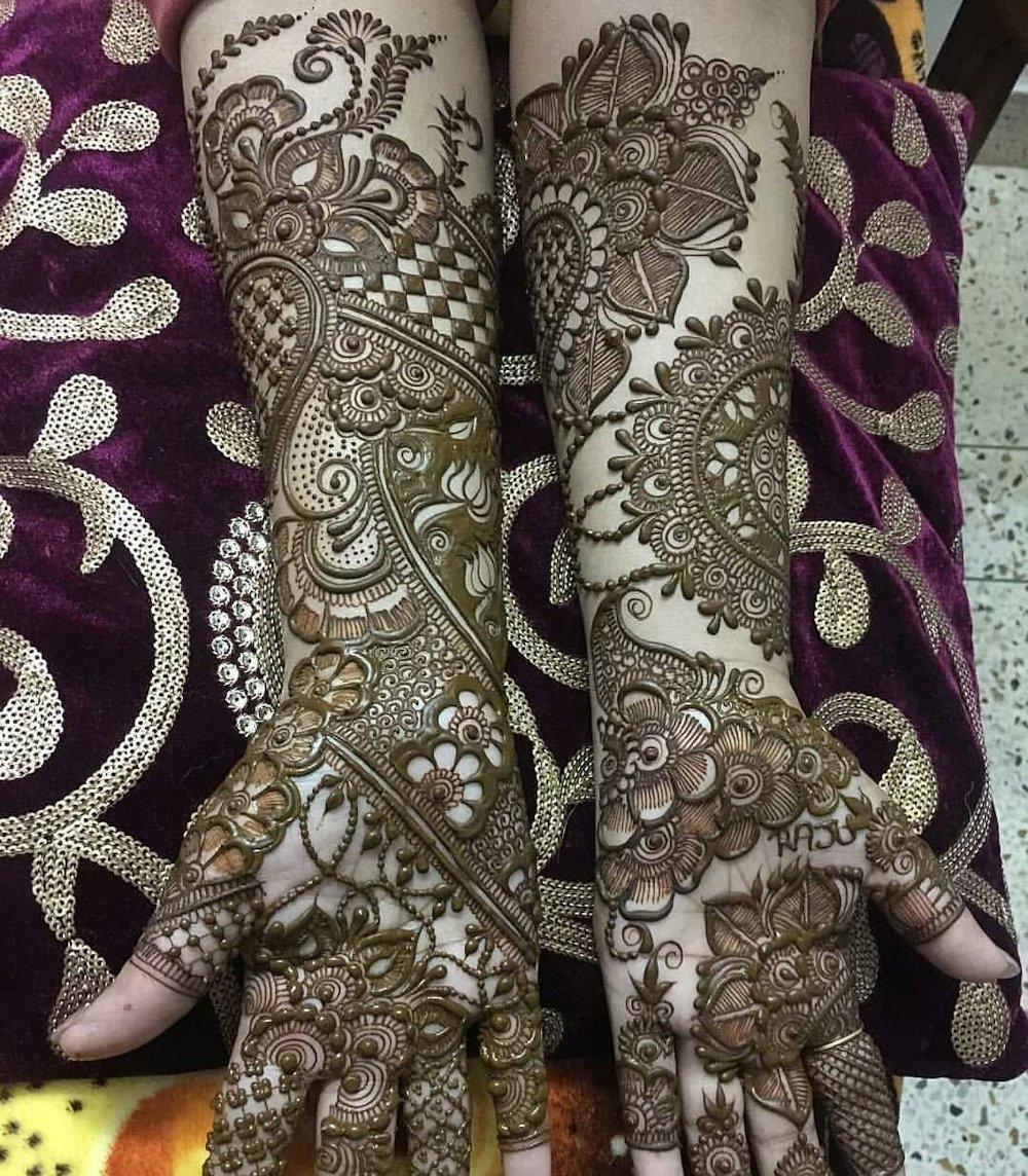 Full Hand Arabic Mehndi Design for Traditional Brides