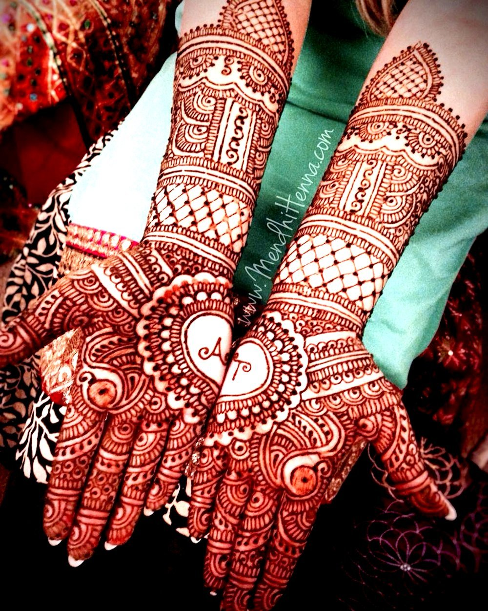 Personalized Dulhan Mehandi Design with Couple Initials